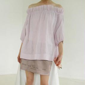 off-shoulder gather smock blouse