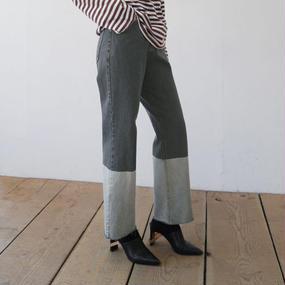 bi-color denim pants