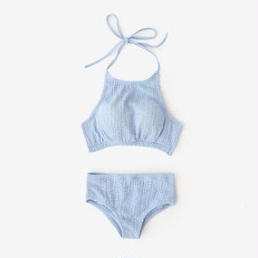 -2colors-halterneck crinkle swim suit