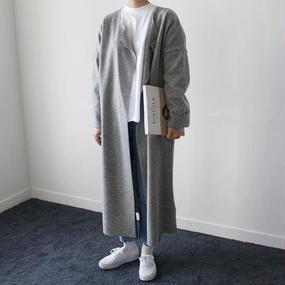 light wool opened long coat