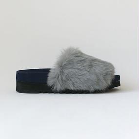 2tone color rabbit fur sandal