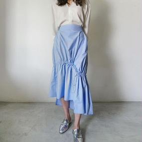 gather string midi skirt
