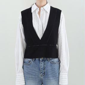 deep V-neck minimal vest