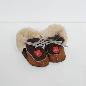 -baby- handmade fur suede shoes [flower]