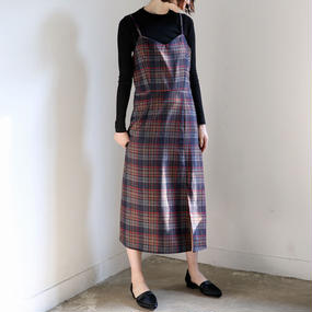 ●10%OFF●wool check camisole slit dress