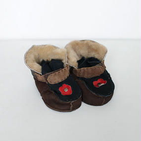 -baby- handmade fur suede shoes [flower-strap]