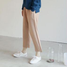 ●10%OFF●felt wool overseam easy pants
