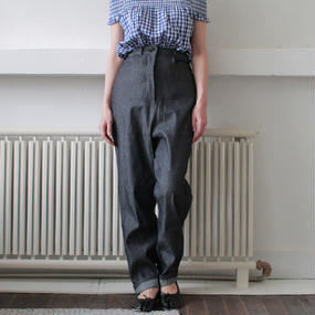 high waist denim slacks