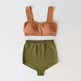bicolor knit bikini