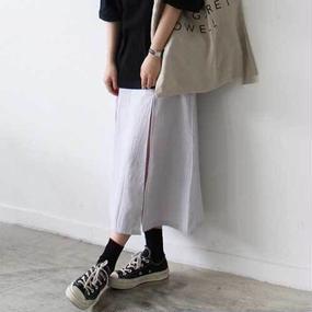 deep slit washed skirt