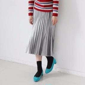 sparckle silver pleats skirt