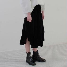 velvet frill skirt