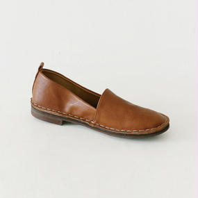 hand stitch flat leather shoes