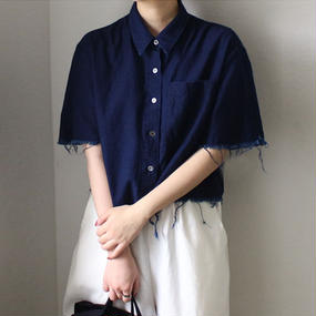 crushed denim cropped shirt