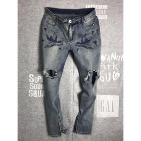 Zip Hem Skinny Jeans - SPALLOW/プリントジーンズ ジップ付きスキニー