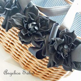 お花、リボンで贅沢に飾ったカゴバッグ 浴衣にもおすすめ!