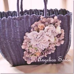 【新作】大人の軽量バッグ マロンブラウンのバッグにこっくりとした秋色のアーティフィシャルフラワーが華やか!