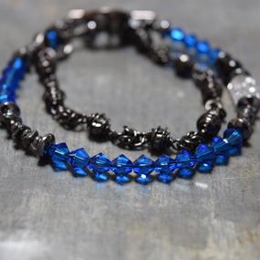 """スワロフスキー ラップチェーンブレス〈ブルー〉""""swarovski wrap chainbracelet(BLUE)"""""""