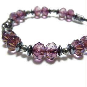 """アルクス チェコガラス シングルブレス<ダークピンク>""""ARUCUS czechglass single bracelet(dark pink)"""""""