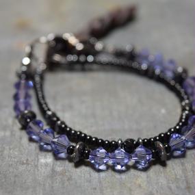 """スワロフスキー ラップブレス レザーテール〈パープル〉""""swarovski wrap bracelet leathertail(PURPLE)"""""""
