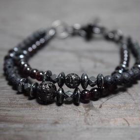 """ガーネット&ラヴァ ジェミニ ブレス""""GARNET&LAVA  gemini bracelet"""""""
