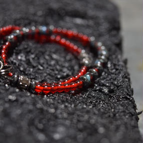 """アルクス  チェコガラス ラップブレス〈コーラル〉""""ARCUS czechglass wrap bracelet(CORAL)"""""""