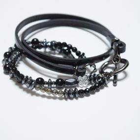 ツインオニキス レザー ラップブレスレット''twin ONYX leather wrap bracelet''