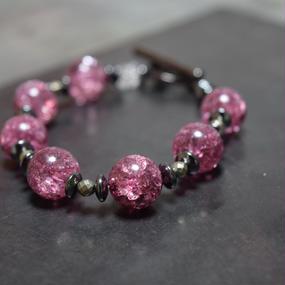 """クラッククリスタル 12mm スピーナ ブレス(ピンク)"""" CLACK CRYSTAL 12mm  spina bracelet(PINK)"""""""