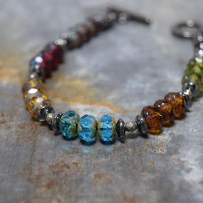 """アルクス チェコガラス シングルブレス〈マルチ〉""""ARCUS czechglass single bracelet(multi)"""""""