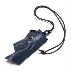 """ネイビー カウレザー キーケースネックレス 製品洗い """"nevy COWLEATHER keycase necklace(garment wash)"""""""