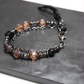 アルクス チェコガラス チェーンブレス レザーテール〈ブラウン〉''ARUCS chezhglass chainbracelet leathertail(BROWN)''