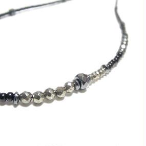 オニキス&パイライト アシンメトリー ビーズネックレス ''ONYX & PYRITE asymmetry beads nacklace''