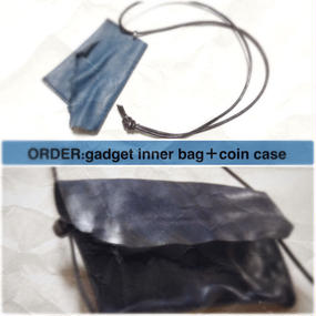 【オーダー】ガジェットインナーバッグ ブルー+カウレザーコインケースセット