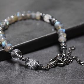"""ラブラドライト AAA チェーンテイル ブレス""""LABRADORITE AAA chain tail bracelet"""""""