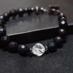 """フロストオニキス シングルブレス*スパイラルクリスタル""""FROSTONYX single bracelet*spiral crystal"""""""