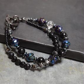 【S size】オニキス チェコガラス ダブルレイヤーブレス(メタルブルー)