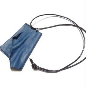 """ブルー カウレザー コインケースネックレス 製品洗い """"blue COWLEATHER coincase necklace(garment wash)"""""""