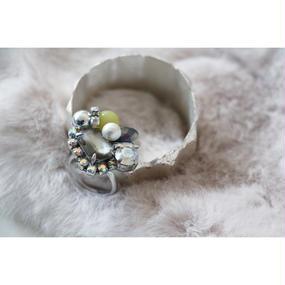 yellow jade× swarovski Ring
