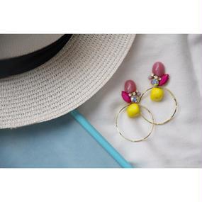 Pink × Yellow drop hoop