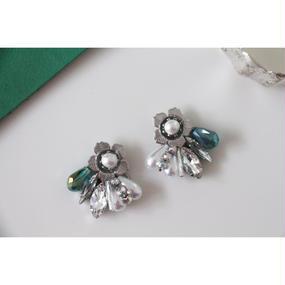 Green flower ×matte silver bijou❁