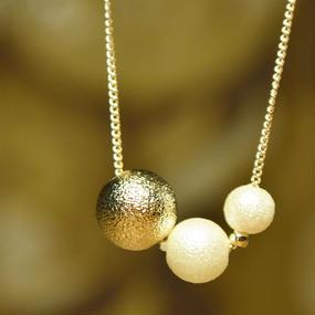 ゴールド&コットンパール3連 ゴールド ネックレス(2color)