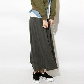 マキシ丈コットンフレアロングスカート(8color)【TO】
