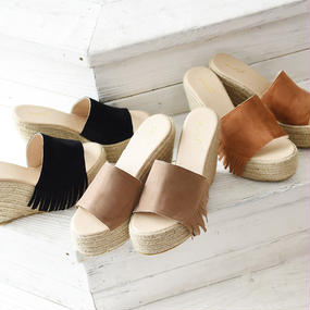 ウェッジフリンジジュートサンダル/靴/シューズ(3color)