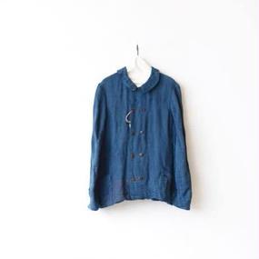 Aski Kataski アスキカタスキ /Indigo Linen Work-Jacket / ak-16004