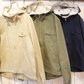 【NANEA】ストーンウォッシュ加工・綿ツイルフード付きジップブルゾン