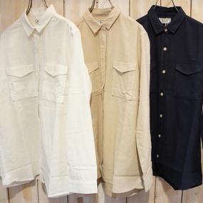 【NANEA】綿オックス・ドビー柄切替シャツ