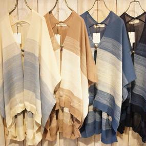【NANEA】麻タッチニット・ポンチョ風羽織り