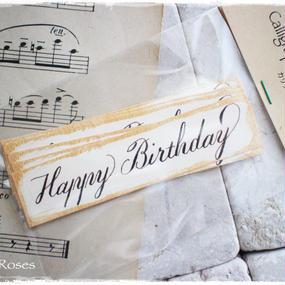 カリグラフィーメッセージタグ「Happy Birthday」1段10枚入り 税・送料込み