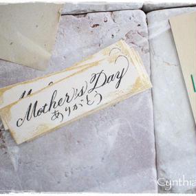 母の日用カリグラフィーメッセージタグ「Mother's Day ありがとう」10枚入り 税・送料込み