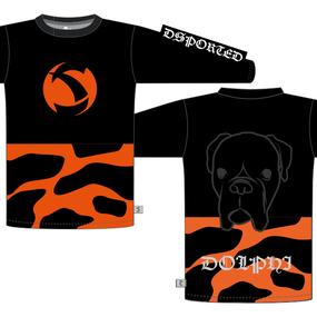MTB長袖シャツ「ドル」 ブラック×オレンジ